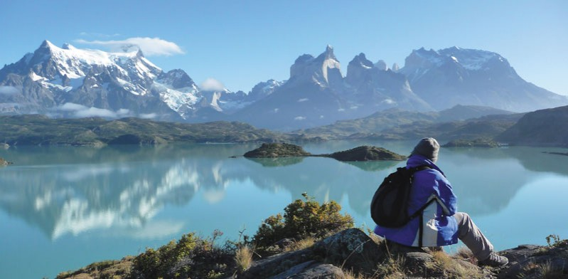 traveller looking out over patagonia