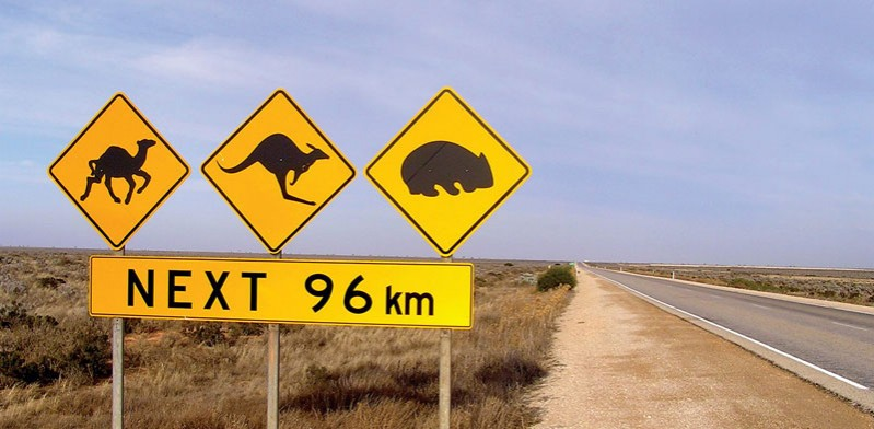australian outback road sign