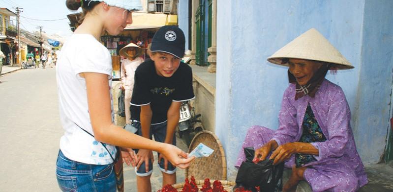 Kids going shopping in Vietnam