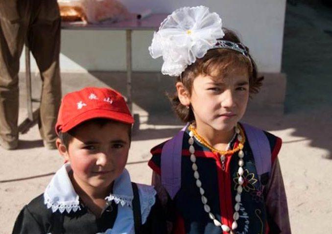 school girls in Central Asia
