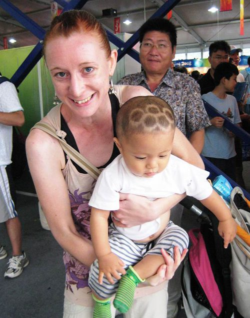 baby with Olympic rings haircut in China