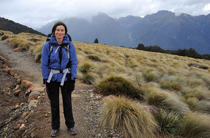Jacqueline Donaldson hiking in New Zealand