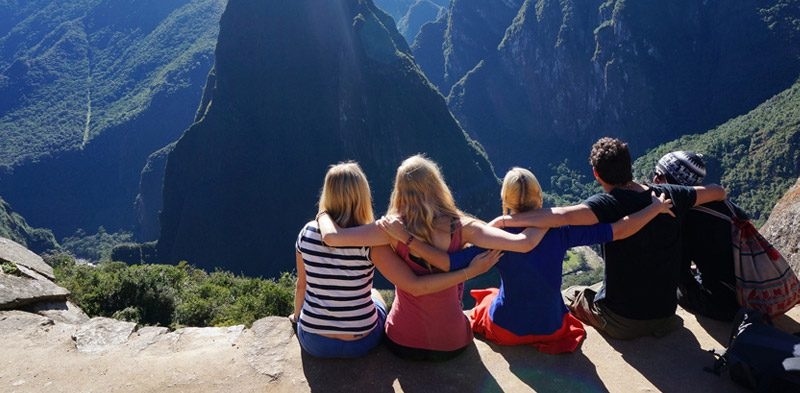 Spending time with friends at Machu Picchu Peru