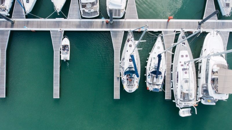 Aerial view of boats in a harbour