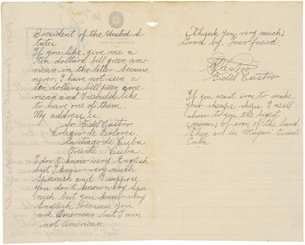 Letter from Fidel Castro to FDR