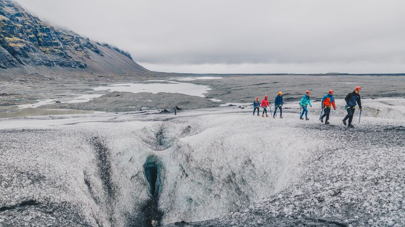 Intrepid Travellers venturing beyond the wall on the Vatnajokull Glacier