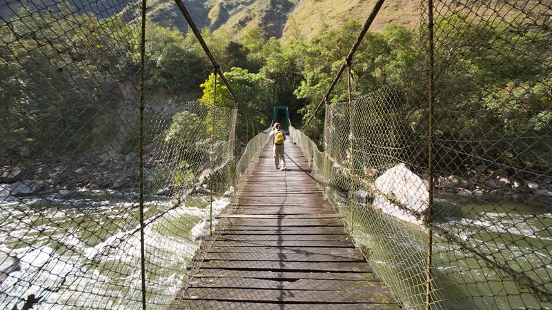 A rope bridge on the Inca Trail. Image Jenny Villone, Flickr