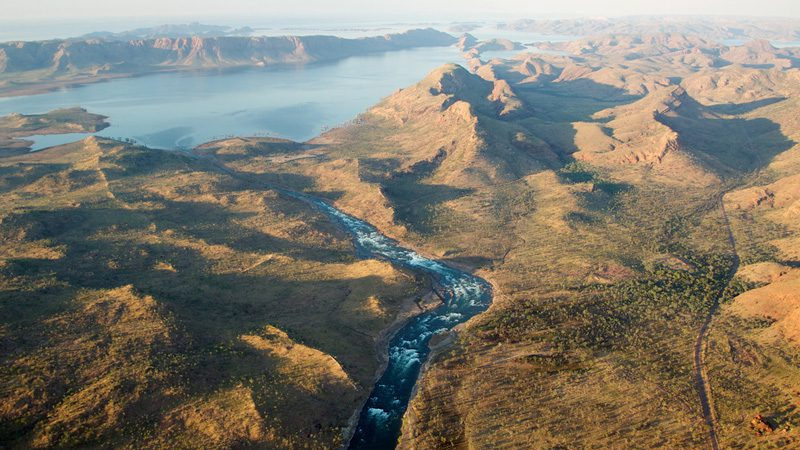 The Ord River flowing into Lake Argyle. Image Jon Connell, Flickr