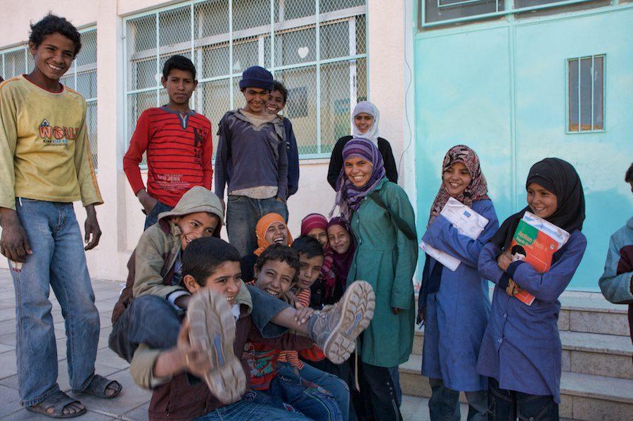 Bedouin children play outside school photo by Sherry Ott