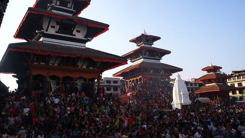 Crowds gather for Indra Jatra. Image Bhuwan Mahajan, Flickr