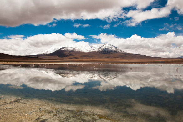 Salar de Uyuni, with reflections of clouds in the salt flats