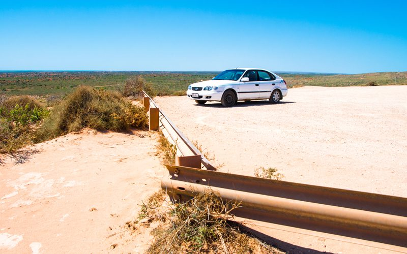 Cape Range - betty-parked-at-ningaloo-lighthouse