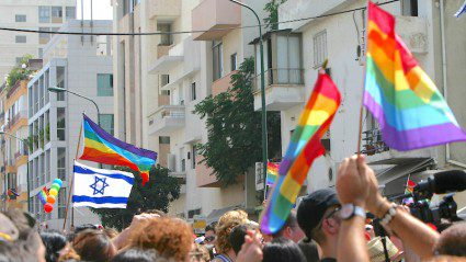 Marching in the Tel Aviv Pride