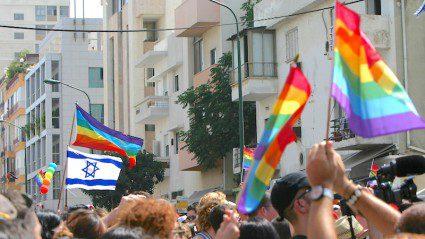 Marching in the Tel Aviv Pride