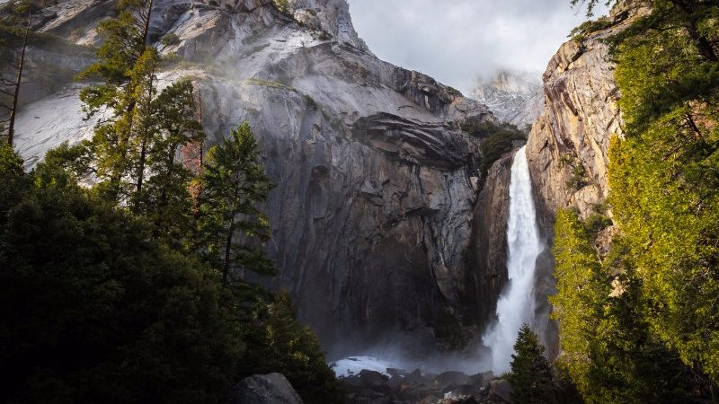 A storm approaches Yosemite Falls