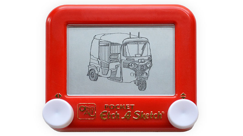 Etch A Sketch India tuk-tuk