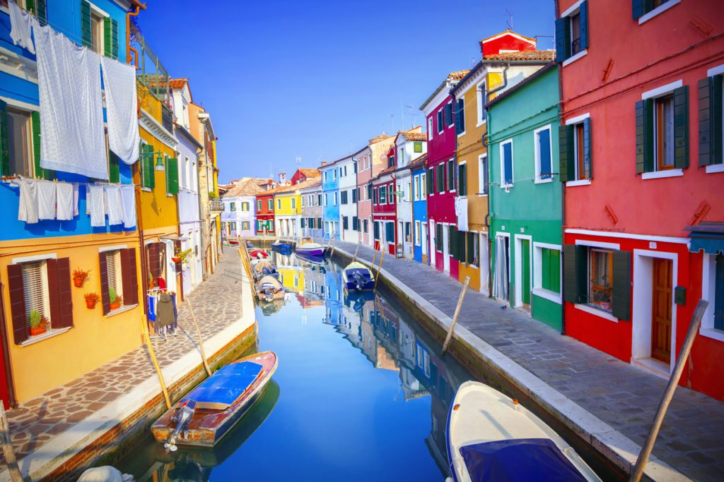 Colorful canals Burano Italy
