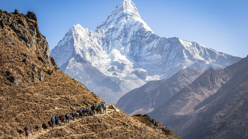 Trekkers on a path to Everest Base Camp