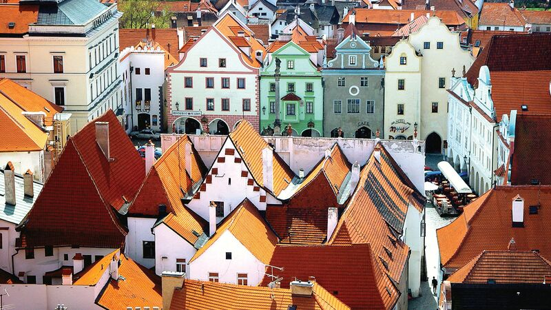Colourful houses and rooftops in the Czech Republic