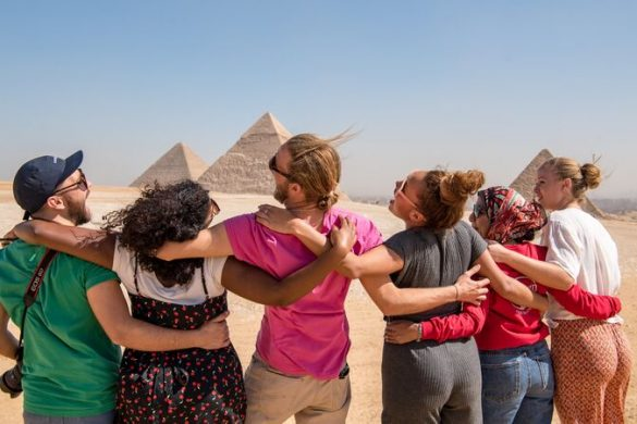 A group of happy travellers in Egypt