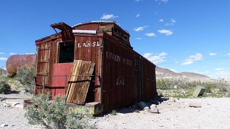 Abandoned railway car in Rhyolite