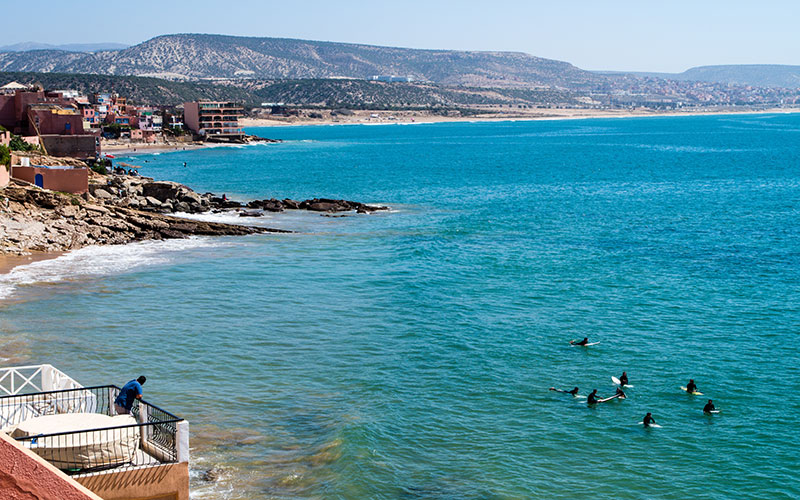 Surfers in Taghazout, south Morocco