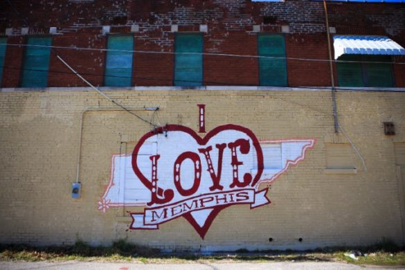 I Love Memphis graffiti wall.