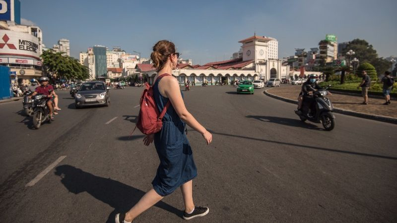 Crossing the road in Ho Chi Minh City