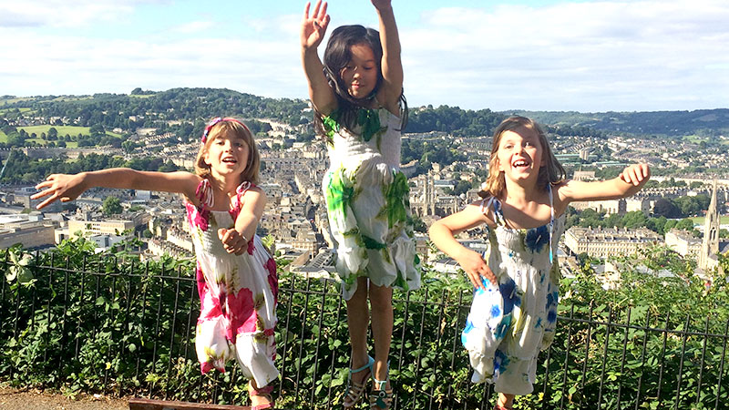 Rosa and friends back home in the UK