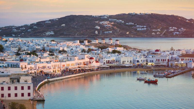 Mykonos town dusk Greece