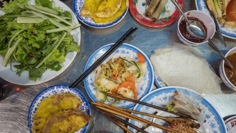 Vietnamese feast flatlay