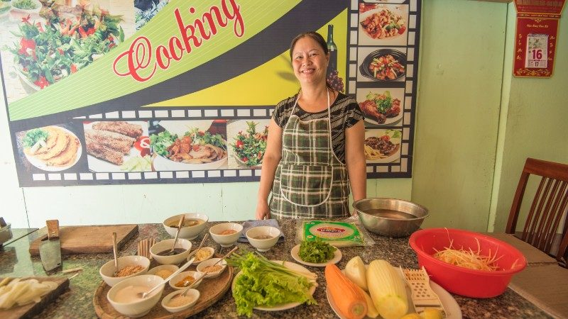 Our teacher at a Hoi An cooking class.