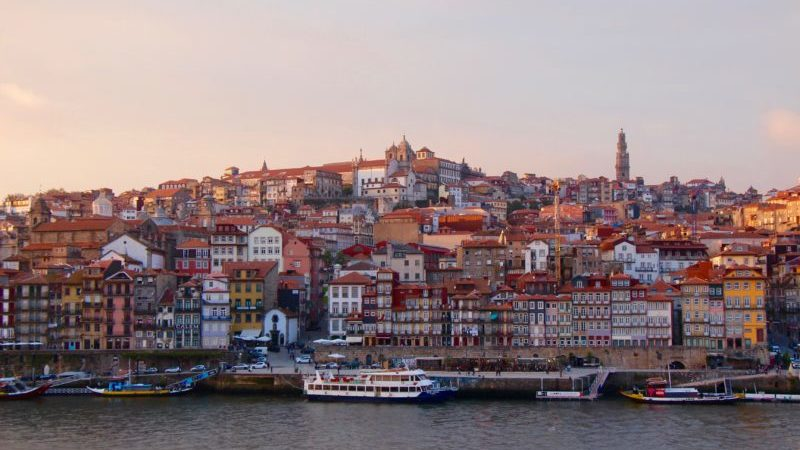 sunset on porto skyline portugal