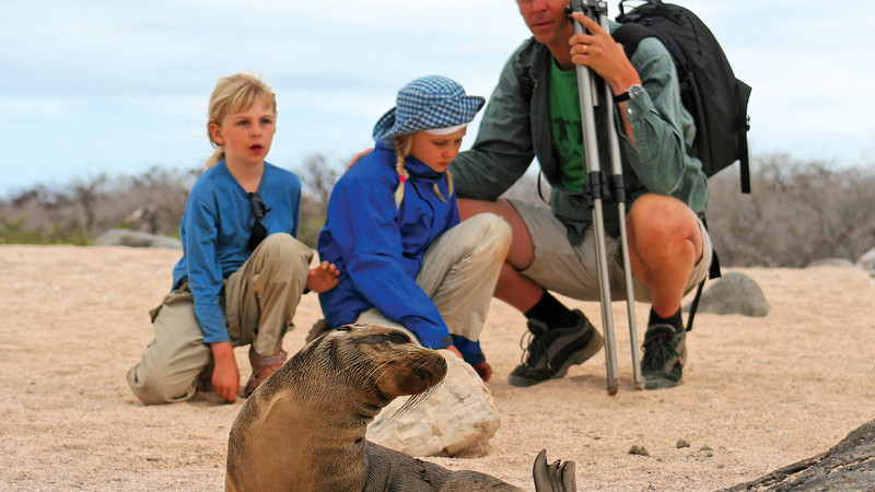 Family watching sea lions in the Galapagos