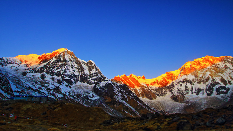 Sun-tipped mountains of Annapurna