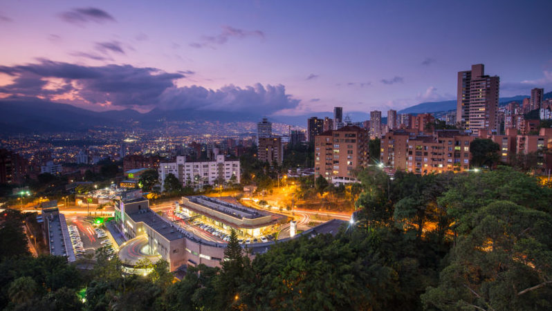 Medellin Colombia skyline sunset