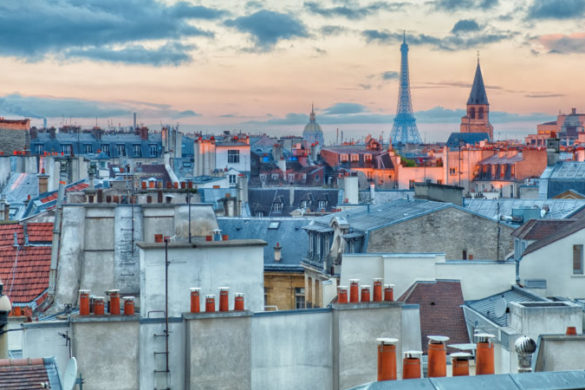 Cityscape of Paris at sunrise