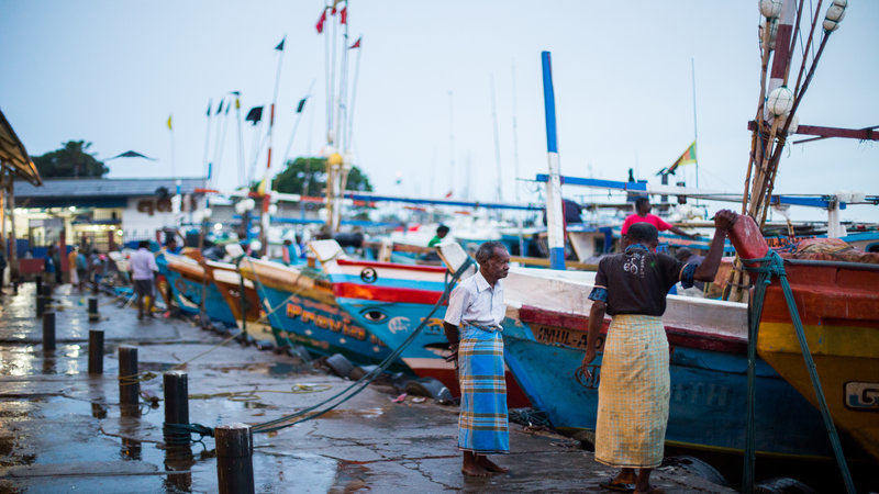 Fishermen at the dock.
