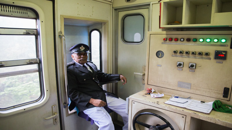 The train driver in his element.