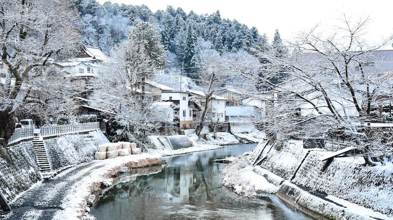 A winter retreat to Takayama: the Hida River flowing through snowy Takayama