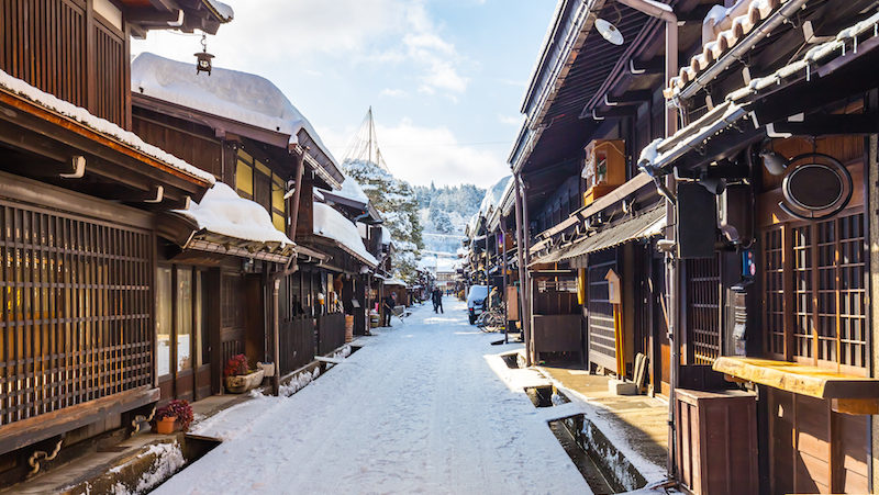 A winter retreat to Takayama: traditional Takayama street lined with snow