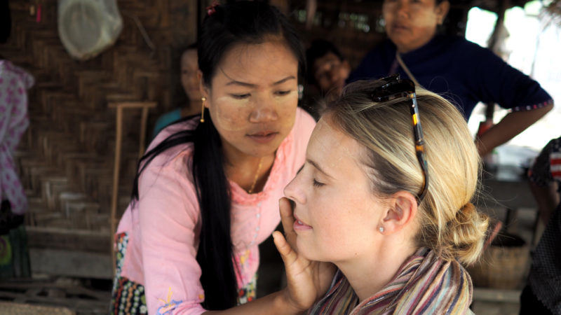 Community-based tourism in Myanmar: the author has thanaka applied to her face