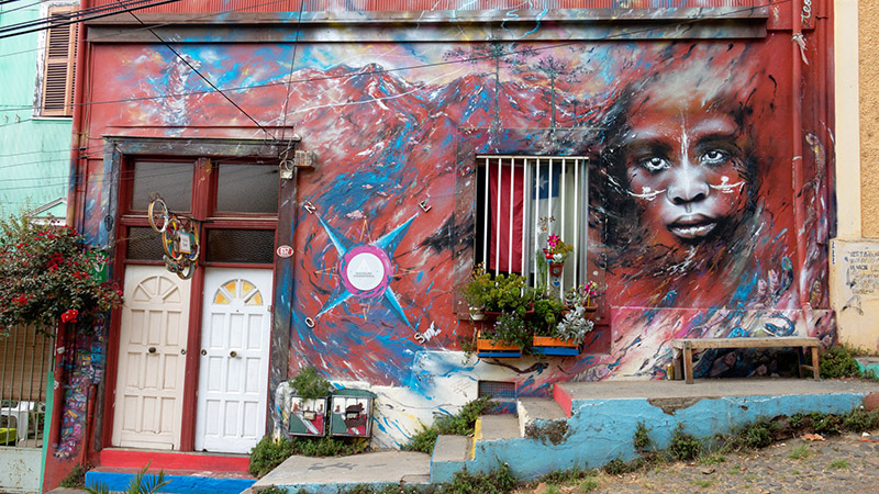 Colourful street art in South America