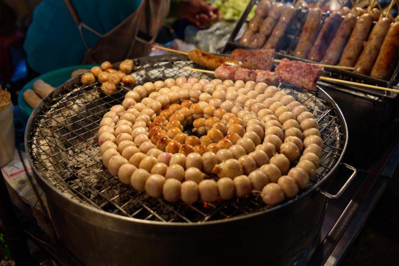 E-Saan Sausage, sold at Warorot market