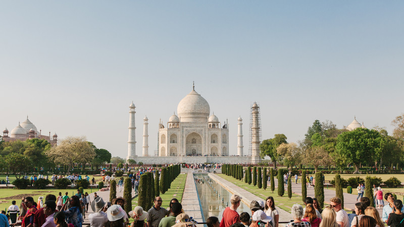 The Taj Mahal on a bright sunny day in India