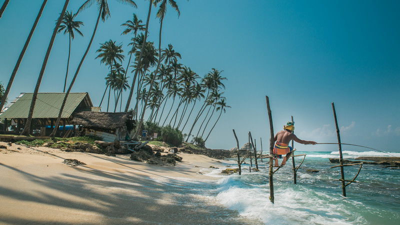 Sri Lanka beach stilt fishermen