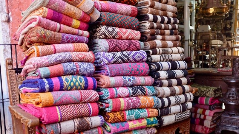 Colourful textiles in Cusco