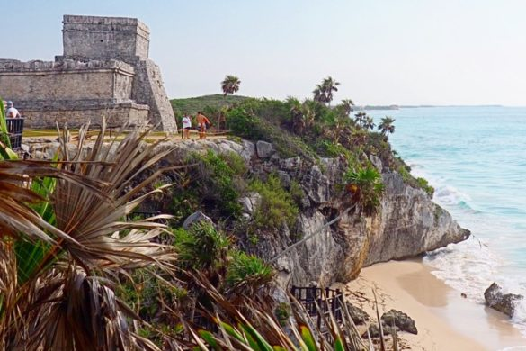 View of the Tulum Ruins, Mexico, from the beach