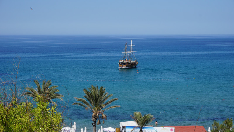 A ship sails around Cyprus.