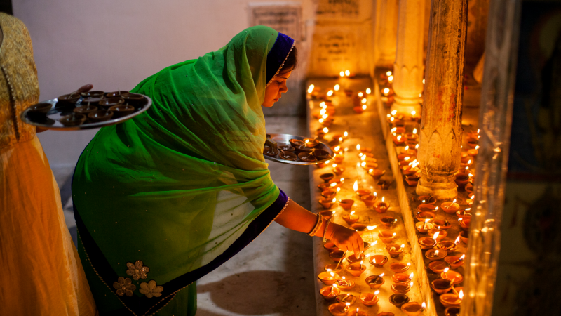 Lighting the candles for Diwali